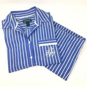 NWOT Polo Ralph Lauren Blue Stipe Capri Pajama Set